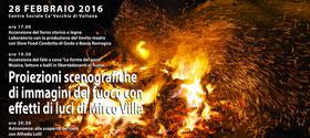 Proiezioni scenografiche di immagini del fuoco con effetti di luci a Ca' Vecchia